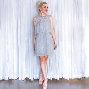 Dresses - Grey Polka Dot Contemporary Career Work Dress